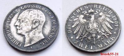 NIEMCY - OLDENBURG 2 MARK 1901 A F.A. GROSSHERZOG