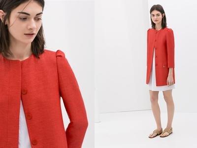 Płaszcz ZARA XS, czerwony ozdobne bufki