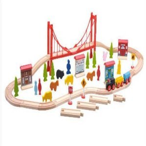 Carousel Wooden Train Set 60 Pieces Kolejka 3086 5948287731
