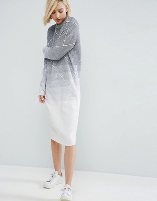 c81f7bfd41 Sukienka ASOS knit midi szara ombre dzianina 38 M - 6878792527 ...