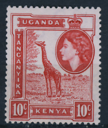 Kenya Uganda Tanganika 10c - Żyrafa