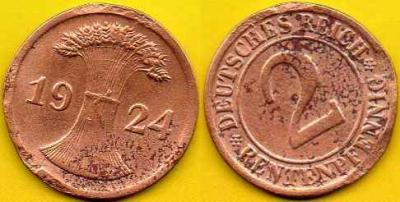 NIEMCY  2 Rentenpfennig  1924 r  D
