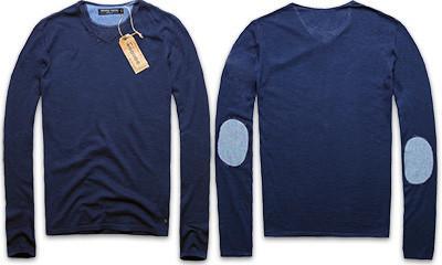 ESSENTIAL stylowy longsleeve - sweter z łatami M