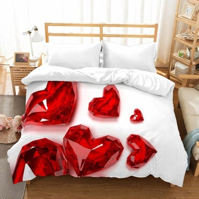 Pościel 3D 160x200 38 Kryształy Serca Walentynki