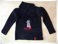 Sweterek ciepły zima czarny Disney Minnie 98/104