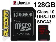KINGSTON KARTA MICRO SDXC 128GB CLASS 10 UHS-I U3