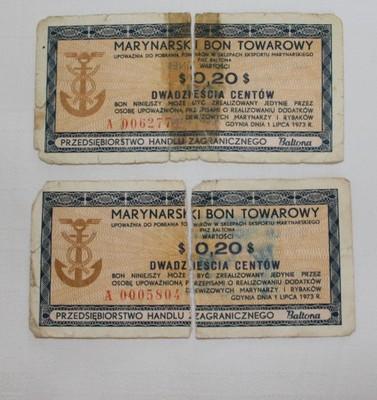 Baltona Marynarski Bon Towarowy Dwadziescia Centow