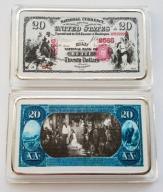 USA PIĘKNA SZTABKA 20$ AG KOLOR PLATED POLECAM