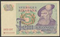 Szwecja - 5 koron - 1972 - stan UNC -