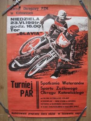 żużel Plakat Turniej Par Slavia Ruda śląska 1991
