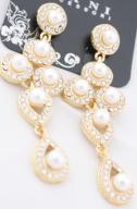 Długie perłowe kolczyki wiszące złoto cyrkonie