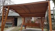 huśtawka drewniana ogrodowa z dachem + nadbudówką