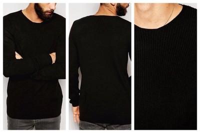 mn8 sweter męski czarny muscle fit klasyczny XS