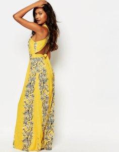 ASOS sukienka MAXI boho W KWIATY żółta XXL 44