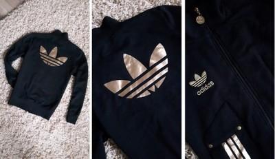 Modernistyczne Bluza Adidas Originals złote logo czarna M nowa - 6700371431 AQ33