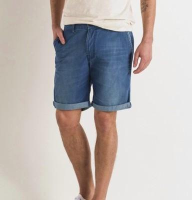 56e5cca2 spodenki LEE jeansowe 36 chino short niebieskie - 6251346389 ...