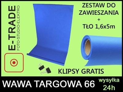ZESTAW DO ZAWIESZANIA TŁA +TŁO NIEBIESKIE 5x1,6 m