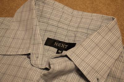 Koszula męska Next w kratę, krótki rękaw, błękit