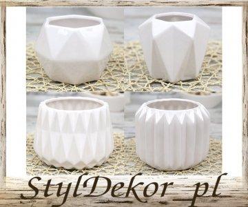 Doniczki Ceramiczne Białe Szkliwione Super Cena