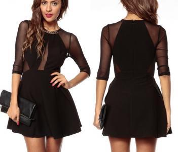b7a3ce9924 Rozkloszowana mała czarna sukienka siateczka XL 42 - 5750087866 ...
