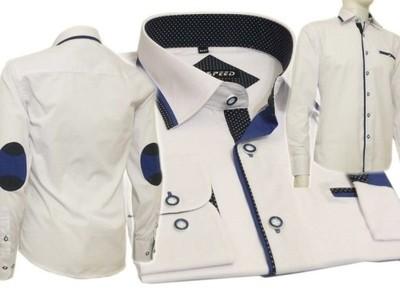 4243 Koszula męska SLIM biała niebieskie łaty HIT  RElga