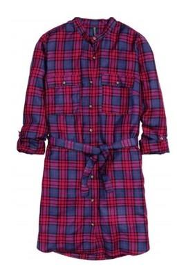 027c16f22ab06b H&M długa koszula sukienka kratka r. 34 XS - 6129560507 - oficjalne ...