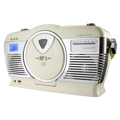 Radioodtwarzacz CD MP3 USB RETRO ECRUE SKÓRA