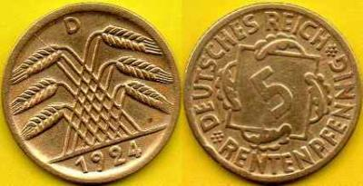 NIEMCY  5 Rentenpfennig  1924 r  D