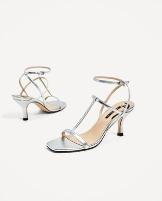ccce91ef03568 Zara -- srebrne sandały z paseczkami Skóra - 35 - 6813377154 ...
