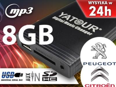 MP3 ZMIENIARKA SD USB AUX PEUGEOT EXPERT 1007 +8GB