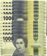 INDONESIA 1000 RUPI 2016 UNC 10 szt banknotów
