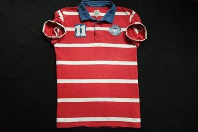 COTTONFIELD koszulka polo paski czerwona logo__XXL