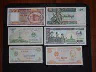 Azja - zestaw 6 banknotów UNC