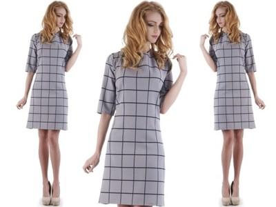 a61e31224f L71 Szara elegancka sukienka w kratkę (42-46) R44 - 6748672775 ...