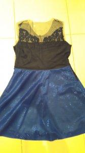 Sukienka brokatowa koronka tiul niebieska granat
