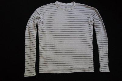 ARMANI EXCHANGE sweter czarny biały paski logo_3XL