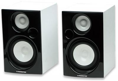 Głośniki 2.0 drewniane biało-czarne MANHATTAN