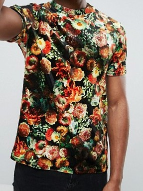 a98 Tshirt męski Reclaimed Vintage welur kwiaty S