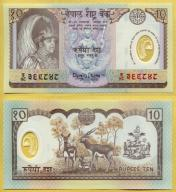 -- NEPAL 10 RUPEES nd/ 2002 P45 UNC polimer