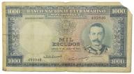 34.Mozambik, 1 000 Escudos 1953 rzadszy, St.4+