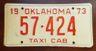 Oklahoma 1973 TAXI - tablica rejestracyjna USA