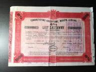 List zastawny Lublin 1930r. 1000zł na 8%