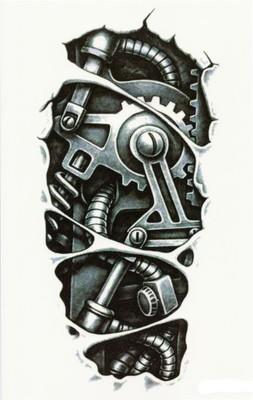 Tatuaż 3d Robot Czarno Biały Qs C058 6699958871