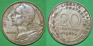 Francja 20 centimes 1963 -M26-
