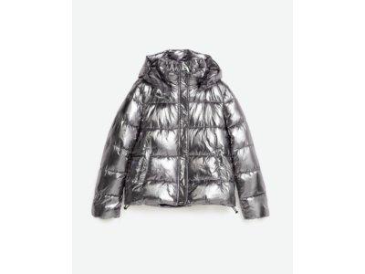 ZARA krótka kurtka puchowa srebrna metalizowana