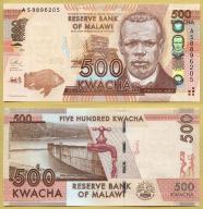 -- MALAWI 500 KWACHA 2013 AS P61b UNC ryba