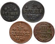 046. Niemcy 1/2, 1/4 stuber, 3 fen 1748-1794 (4sz)