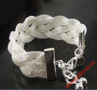 EXLUZYWNA srebrna bransoletka 925 szeroki warkocz