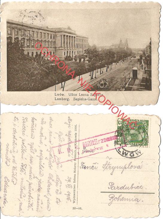 Lwów, Ulica Sapiehy, K.U.K. cenzura 1, 1916