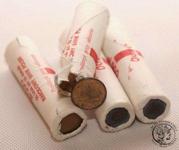 Rulony bankowe 4 x 10 złotych 1990 mosiądz st.1
